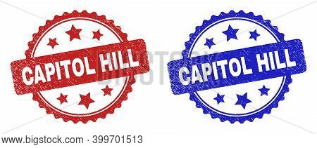 Rosette Capitol Hill Seal Stamps. Flat Vector Distress Seal Stamps With Capitol Hill Title Inside Ro