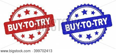 Rosette Buy-to-try Seal Stamps. Flat Vector Textured Stamps With Buy-to-try Message Inside Rosette W