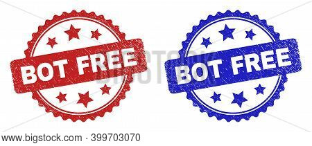 Rosette Bot Free Stamps. Flat Vector Scratched Stamps With Bot Free Message Inside Rosette Shape Wit