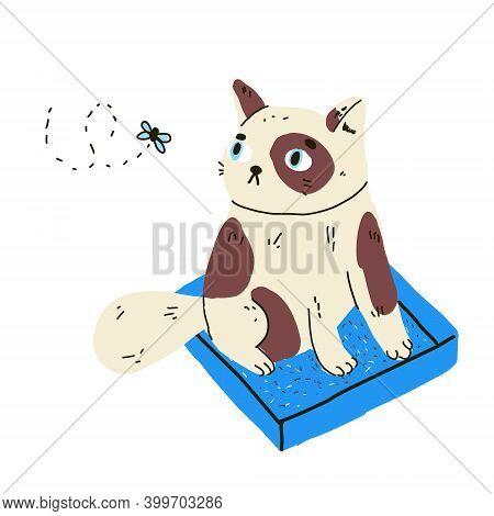 Cartoon Cat Sit In Litter Box Toilet. Pet Toilet
