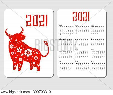 2021 Calendar Template With Asian Style Ox. Chinese New Year Design With Decorated Cow Bull Characte