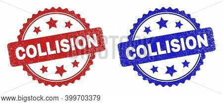 Rosette Collision Stamps. Flat Vector Scratched Watermarks With Collision Caption Inside Rosette Sha