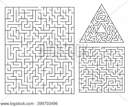 Vector Maze Template. Labyrinth Sample For Kids Books