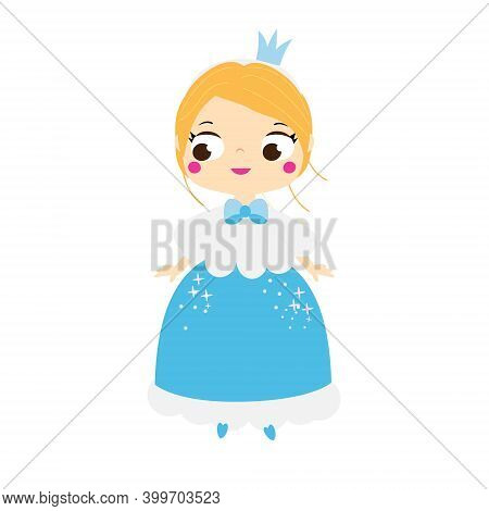Cartoon Girl In Beautiful Dress And Crown. Cute Little Princess.