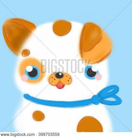Cartoon Cute Dog. Little Fluffy Puppy Card Design. Sweet Baby Animal Character.