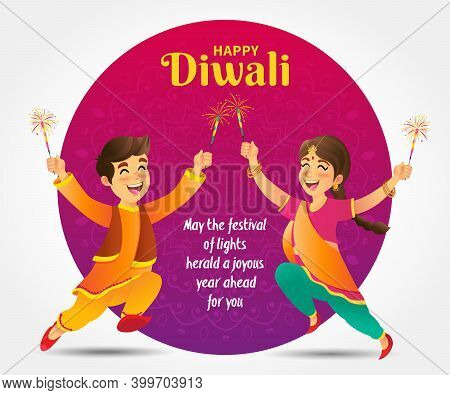 Cute Cartoon Indian Kids In Traditional Clothes Jumping And Playing With Firecracker Celebrating The