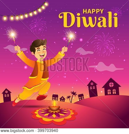 Cute Cartoon Indian Boy In Traditional Clothes Jumping And Playing With Firecracker Celebrating The