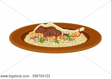 Rice With Lamb Rib And Vegetables As Syrian Cuisine Dish Vector Illustration