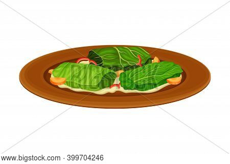Dolma With Stuffing Wrapped In Vine Leaf As Syrian Cuisine Dish Vector Illustration