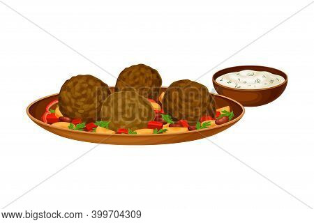 Meatballs With Vegetables Served With Sour Cream Sauce As Syrian Cuisine Dish Vector Illustration
