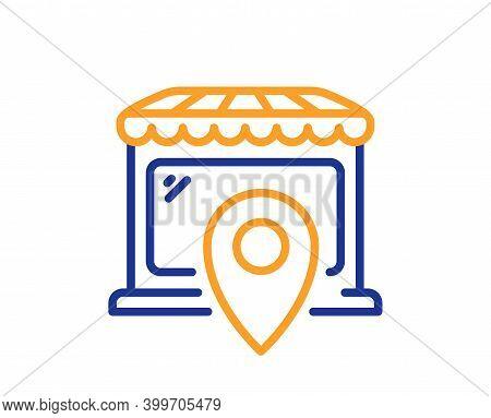 Market Location Line Icon. Wholesale Store Sign. Retail Marketplace Symbol. Quality Design Element.