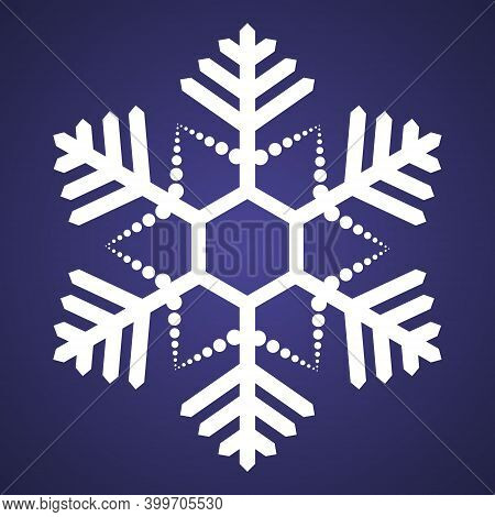Snowflake. Festive Ornament. Vector Illustration. Isolated Purple Background. Flat Style. A Fragile