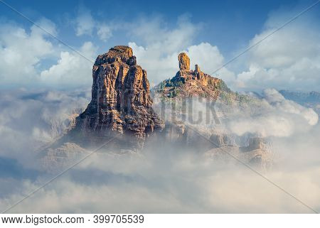 Landscape With Roque Bentayga And Roque Nublo In The Background, Gran Canaria, Canary Islands, Spain