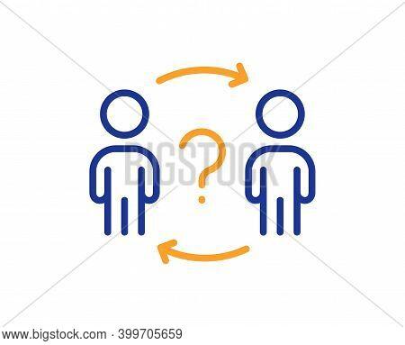 Delegate Question Line Icon. Teamwork Help Sign. Employee Share Symbol. Quality Design Element. Line