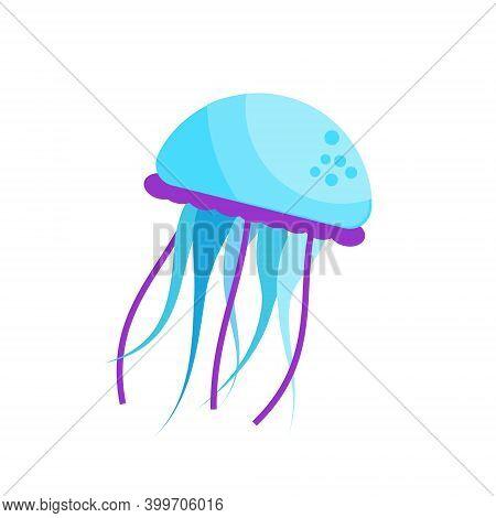 Blue Jellyfish. Vector Isolated Clip Art Symbol