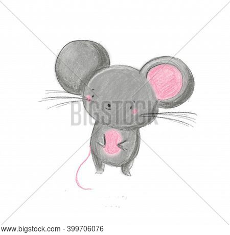 Cartoon Little Mouse. Cute Sweet Animal Character