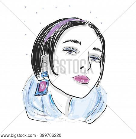 Portrait Of Woman With Blue Earrings. Fashion Sketch Illustration