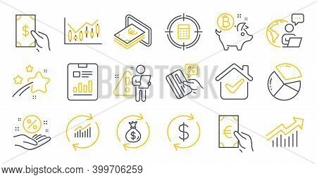 Set Of Finance Icons, Such As Receive Money, Usd Exchange, Report Document Symbols. Cash, Financial