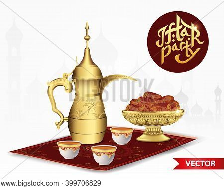 Iftar Party Food With Classic Arabic Teapot And Cup, Bowl Of Dates Isolated On White Background
