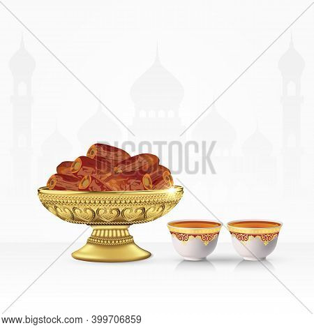 Vintage Bowl Of Dates With Tea Cup Isolated On White Background. 3D Vector Illustration