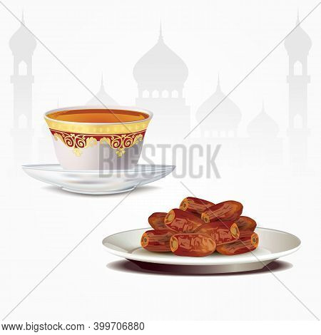 Dates Fruits With Arabic Tea Cup Isolated On White Background. Ramadan Iftar Food