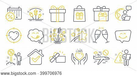 Set Of Holidays Icons, Such As Opened Gift, Holidays Shopping, Hold Heart Symbols. Yummy Smile, Disc