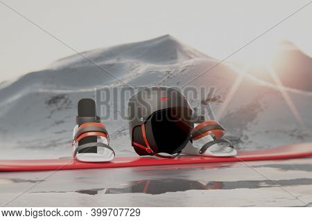 Snowboard With Bindings And Helmet On Snow. Sun God Rays Over The Mountain. 3d Render.