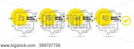 Line Graph, Bitcoin Project And Currency Audit Line Icons Set. Timeline Infograph Speech Bubble. Acc