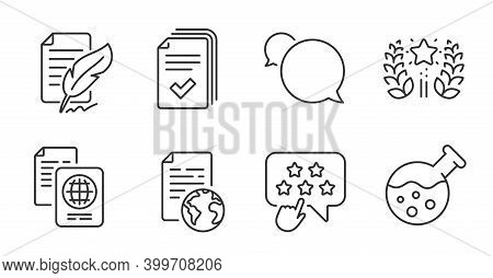 Ranking Star, Internet Document And Ranking Line Icons Set. Passport Document, Chemistry Lab And Han