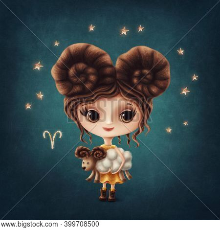 Illustration of a cute Aries Girl