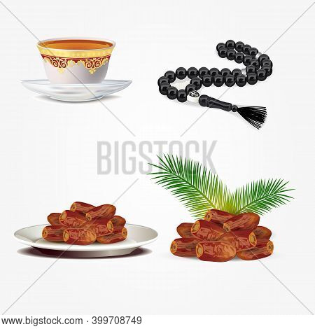 Dates Fruits With Arabic Tea Cup And Islamic Rosary Beads Isolated On White Background