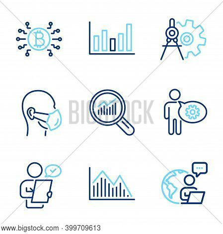 Science Icons Set. Included Icon As Column Chart, Data Analysis, Customer Survey Signs. Cogwheel Div