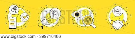 Safe Time, Flash Memory And Coronavirus Research Line Icons Set. Cell Phone, Megaphone And Deal Vect