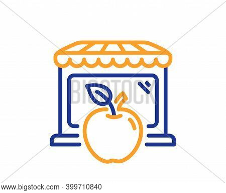 Market With Apple Line Icon. Wholesale Store Sign. Retail Marketplace Symbol. Quality Design Element