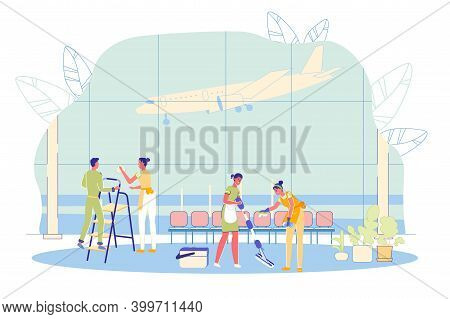 Airport Cleaning Company Employees Cartoon Characters Clean Air Terminal Hall - Washing Windows And