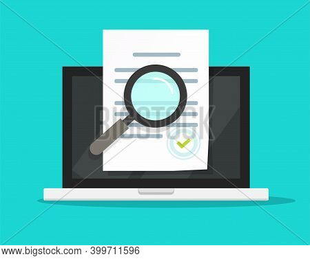 Online Compliance Document Inspection, Statement Terms Audit Review On Laptop Computer Vector Flat,