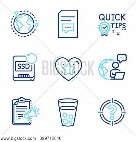 Business Icons Set. Included Icon As Outsourcing, Quick Tips, Ranking Star Signs. Comments, Megaphon