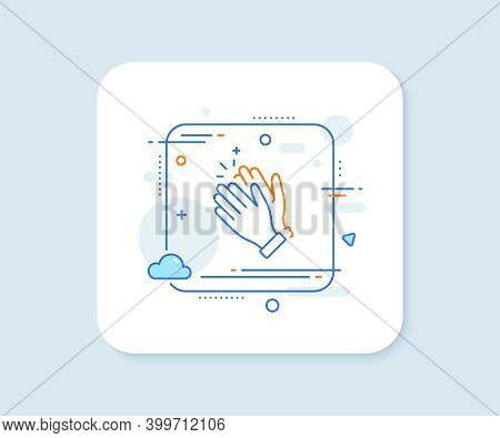 Clapping Hands Line Icon. Abstract Square Vector Button. Clap Sign. Victory Gesture Symbol. Clapping