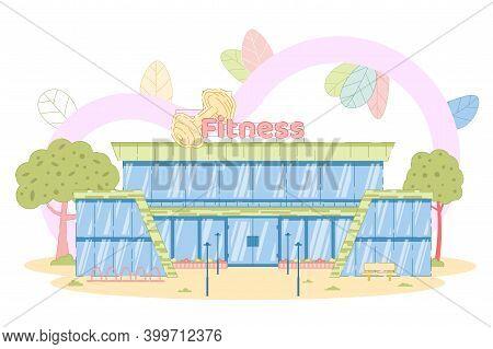Fitness Center. Architecture Sport Building Facade. Gym Exterior. Construction For Pilates And Gymna