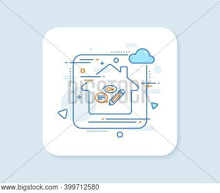 Keywords Line Icon. Abstract Vector Button. Pencil With Key Symbol. Marketing Strategy Sign. Keyword