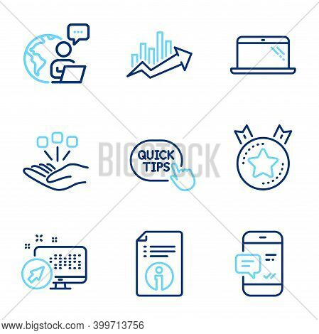 Technology Icons Set. Included Icon As Quick Tips, Smartphone Notification, Web System Signs. Rankin