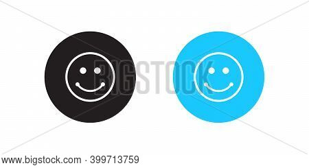 Satisfied Button Icon Vector In Flat Style Isolated On White Background. Smile Symbol Illustration