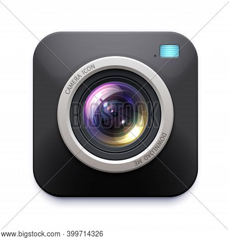Photo Or Video Camera Icon, Vector Digital Sign, Button With Lens Flare. Isolated Label Or Emblem Fo
