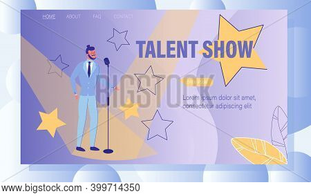 Entertainment Talent Tv Show. Young Man Standing On Stage. Comedian Artist Or Vocal Singer With Micr