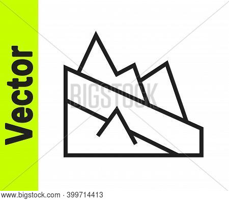 Black Line Mountain Descent Icon Isolated On White Background. Symbol Of Victory Or Success Concept.
