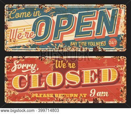Open And Closed Vector Rusty Metal Plates, Vintage Rust Tin Signs For Store. Cafe, Shop Or Office Do