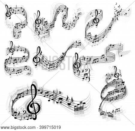 Music Notes Vector Set With Swirls And Waves Of Musical Staff Or Stave, Treble And Bass Clefs, Sharp