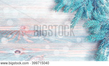 Christmas background, Christmas border, blue winter fir tree branches on the wooden background, free space for Christmas text, panoramic Christmas background, Christmas card, Christmas bakground, festive Christmas card