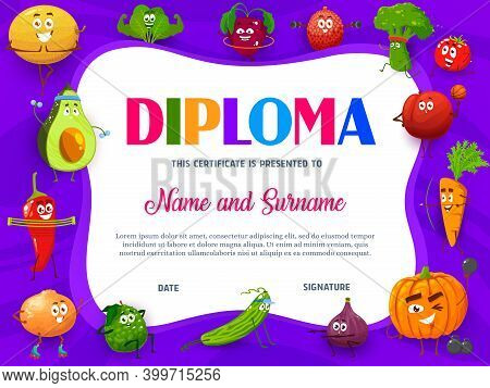 Education School Diploma With Cartoon Fruits And Vegetables Sportsmen. Kindergarten Certificate With