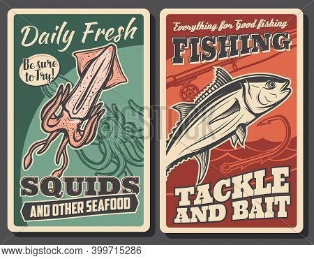 Fresh Seafood And Fisher Tackle Store Banner. Sea Squid Or Cuttlefish Catch, Tuna Fish And Angling R
